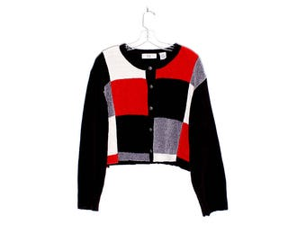 90s Chenille knit sweater cardigan sweater / skater 90s grunge look crop top sweater boxy cropped sweater jacket 90s clothing jumper