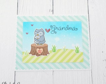 Grandparents Day Card, Birthday Card, Card For Grandma, Owl, Handmade Greeting Cards, Lawn Fawn Card