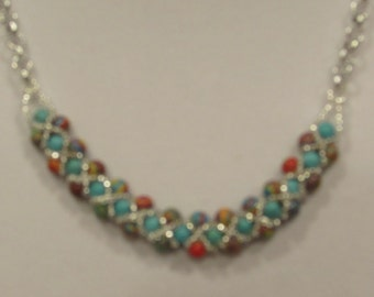 Turquoise and Agate Necklace, Bracelet and Earrings  ***GENUINE***