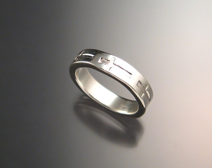 Sterling silver Christian crosses wide sturdy handmade wedding ring made to order in your size