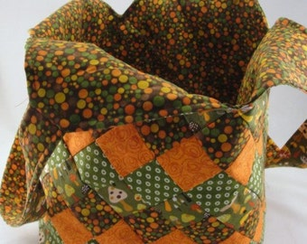 Large handmade patchwork tote bag mondo orange olive green brown