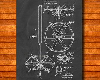 "Retro 1940 ""Ski Pole"" Vintage Patent Illustration, Art Print Poster, Wall Art, Home Decor, Ski Art, Skis, Alpine Snow Skiing, Gift Idea 135"
