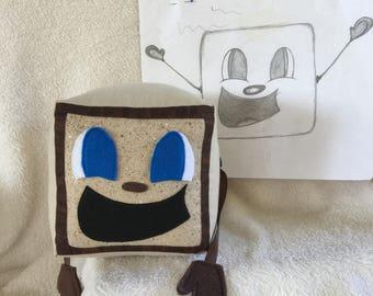 "Freckle Box Tim! Tiny Box Tim Plushie! Plush Toy. 7"" cube, Pillow. Markiplier Youtuber."