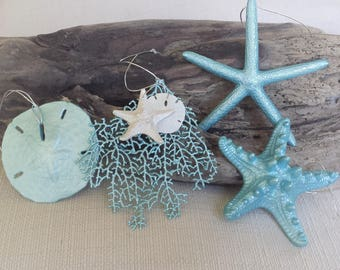 Beach Decor, Starfish Ornament, Beach Christmas Ornament, Coastal Ornament, Beach Christmas Decor, Sea Fan, Sand Dollar, Starfish