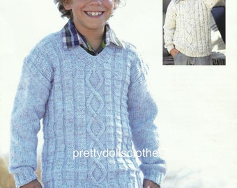 Boys Sweater Knitting Pattern 2 to 13 years.