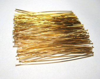 100pcs Gold Plated Brass Head pins 2 inches 24 ga