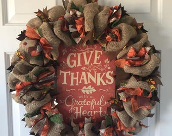 GIVE THANKS WREATH. Thanksgiving wreath, fall wreath, autumn wreath, burlap, ribbon