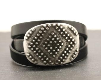 Leather Bracelet , Leather Wrap Bracelet , Granulation , Silver Dot Jewelry , Statement Bracelet , Silver Cuff , Leather Cuff , Amy Fine