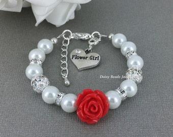 Red Flower Girl Bracelet Flower Girl Jewelry Flower Girl Gift for Her Pearl Bracelet Charm Bracelet Girl's Jewelry Wedding Jewelry FG101