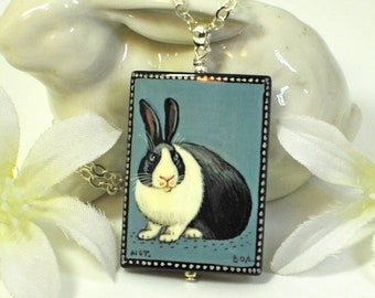 Dutch Bunny Necklace Skye Bleau- Rabbit Jewelry- Dutch Rabbit Necklace- Bunny Jewelry- Woodland Animal- Nature Lover Gift- Bunny Lover Gift