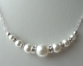 Swarovski Crystal Rhinestone Pearl Round Necklace, Bridesmaids Gift Necklace, Bride Bridal Necklace, Junior Bridesmaids