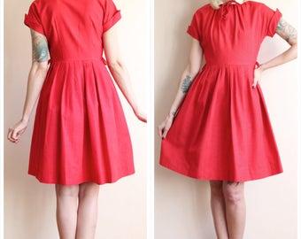 1950s Dress // Christmas Kiss Silk Dress // vintage 50s dress