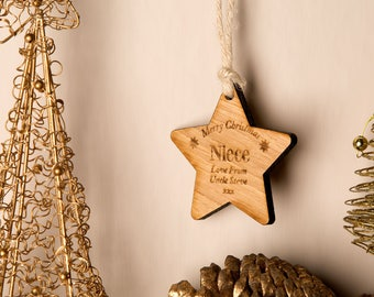 Personalised pet wooden star christmas gifts for pets pet
