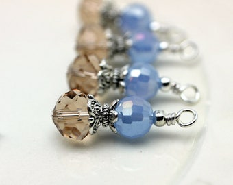 Vintge Style Light Topaz Rondelle Crystal with Baby Blue AB Round Crystals Bead Earring Dangle Charm Drop Set Pendant