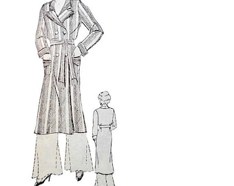 """30's Childrens Double Breasted Robe Pattern Bust 30"""" Notched Collar Tassel Tie Belt  Non Printed Vintage Advance 915 Sewing Patterns"""