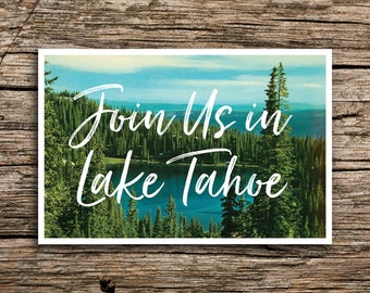 Lake Tahoe Postcard Save the Date // Join Us at the Lake Save the Dates Postcards California Nevada Wedding Post Cards Blue Pine Trees
