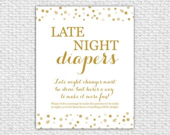 Late Night Diapers Game Sign, 8x10, Printable Baby Shower Game, Baby Shower Sign, Baby Shower Printable, Baby Shower Decor, Confetti