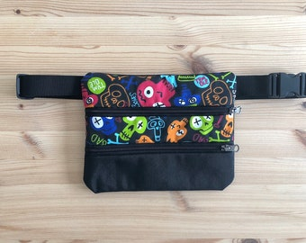 Fanny pack, skulls, black, shoulder bag, boy, girl, man, woman, gift, Fabric fanny pack, handbag, skull fabric, rock, travel