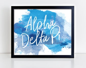 ADPi Alpha Delta Pi Watercolor Script Ready To Frame Poster