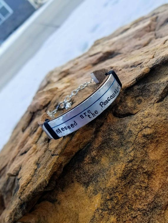 """Law Enforcement Support leather bracelet - """"Blessed are the Peacemakers"""""""
