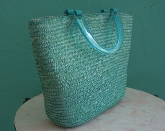 vintage 80's blue summer tote bag with lucite handles