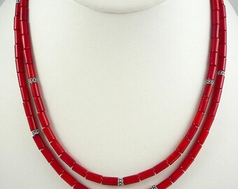 Long Coral Necklace Bright Red Coral Necklace Long Red Bamboo Coral Necklace Coral Silver Necklace Long Red Coral Strand Coral Necklace Red