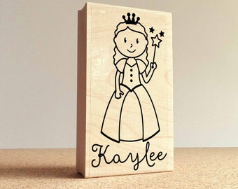 Personalized Princess Rubber Stamp for Children, Custom Princess Stamp - Choose Hairstyle and Accessories