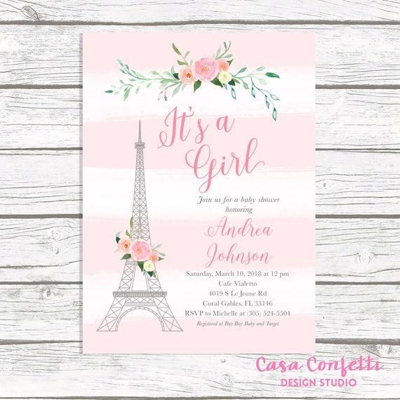 Paris baby shower invitation french baby shower invitation like this item stopboris Images