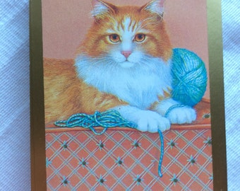Wonderful Vintage Congress Deck of Playing Cards featuring Cat Playing with Yarn