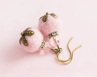 Small Pink Felted Earrings with Pink Faceted Beads and Rhinestone Spacers in Antique Brass, Feminine Earrings, Pink Felt Jewelry