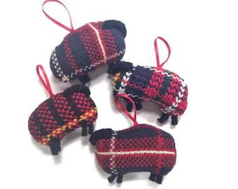 Knitted Sheep Ornament One Plaid Lamb Up Cycled Sweaters