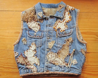 OOAK Embellished Vintage Denim Vest BELLA BELLA - Fully Lined - Upcycled Repurposed Recycled Clothing