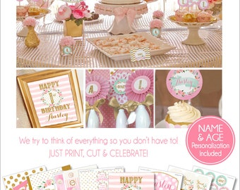 1st Birthday Party | Pink and Gold Party Printables | First Birthday | 1st Birthday Decorations | Onederful | Adult Teen Birthday | Amanda's