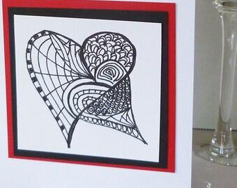 Original   Hand Drawn  Doodle Heart Design Greeting Card