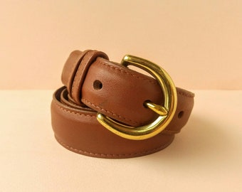 Classic Coach Mahogany Leather Belt - Brass Horseshoe Buckle - Women's Size Medium 8400