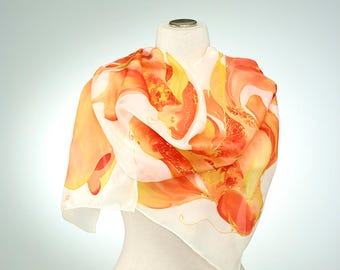 Hand Painted Silk Scarf, Silk Shawl using French dyes. Koi fish on white.