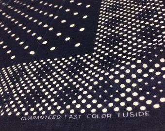 1940s dark indigo blue polka dot bandana 22.75x19.5 Guaranteed Fast Color Tuside hemmed all cotton selvedge bandanna #118