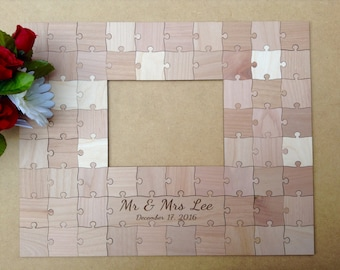 60 pcs Picture Frame Puzzle Custom Wedding Guest Book Puzzle for 5 x 7 Photo With 60 Mixed Grain Pieces