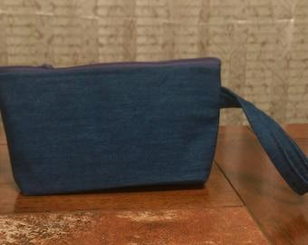 Navy Blue Jean  Wristlet