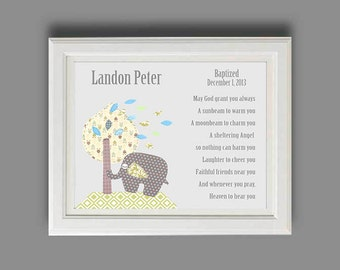 Baby Boy Baptism Gift - Christening Gifts for Boys - Personalized Baptism Gift - Elephant Nursery Art -Baby Nursery Decor - PRINT