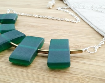 Statement Necklace- Geometric Necklace- Green Chunky Silver Necklace- Green Jewelry- Womens Gift- Unique Womens Gift- Green Necklace