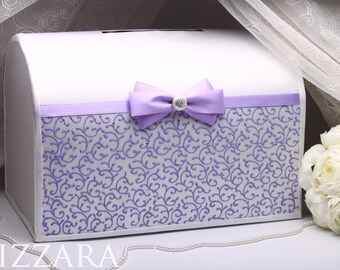 Wedding Card Box Lilac-HAND-Painted Gift Card Holder Money Box Wedding Gift Card Box Lavender Decor wedding Lavender Lilac wedding ideas