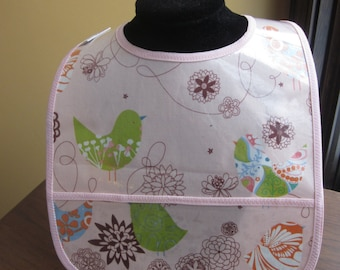 WATERPROOF BIB Wipeable Plastic Coated Baby to Toddler Bib Light Pink Birds and Flowers