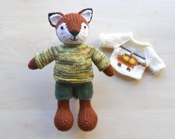 Knitted Fox Boy Set in Suit Hand Knit Stuffed Animal Fox Boy Doll for Boys Soft Toy Cute Independence Day Gift Collectible Toy