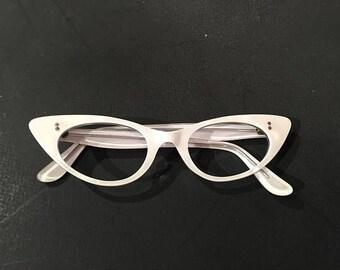 60s White Mother of Pearl Cat Eye Glasses Frames, Frame France, NOS, Vintage White Pearl Cateye Sunglasses, White Cateye Lucite Eyeglasses