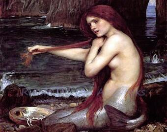 """John William Waterhouse """"Mermaid"""" Fantasy Sea Seashell 1901 Reproduction Digital Print"""