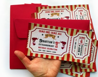 Circus ticket invitation, Circus invitation, circus party ticket, Carnival invitation, circus baby birthday, circus birthday, carnival theme