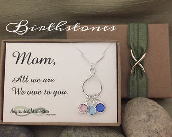 Personalized Birthstone Necklace for Mom Mother's Day Necklace Mom Gifts Children Birthstones Gifts for Wife - All we are we owe to you