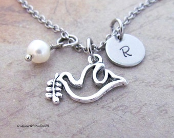 Peace Dove Charm Necklace, Personalized Antique Silver Hand Stamped Initial Birthstone, Monogram Peace Dove  Charm Necklace