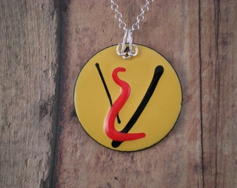 Abstract Enamel on Copper Pendant  yellow  red  black Sterling Silver